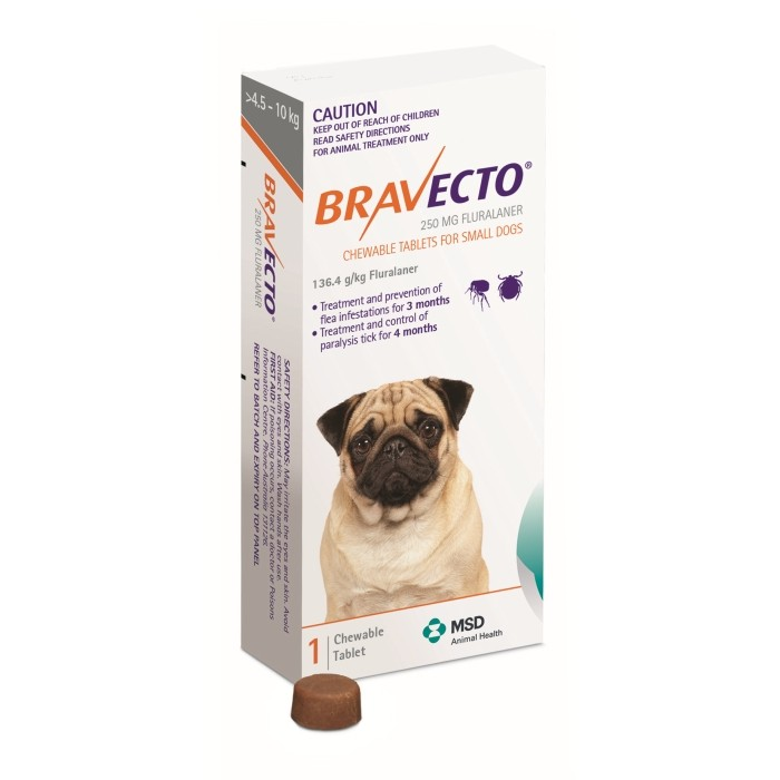 BRAVECTO CHEW SMALL 4.5-10KG ORANGE 1S