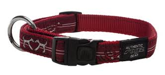 BEACH BUM LARGE DOG COLLAR RED HEART