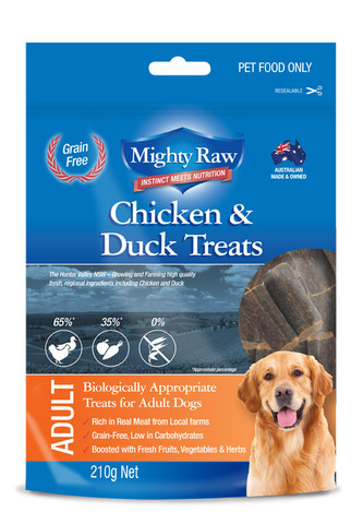 MIGHTY RAW ADULT CHICKEN & DUCK TREATS 210G