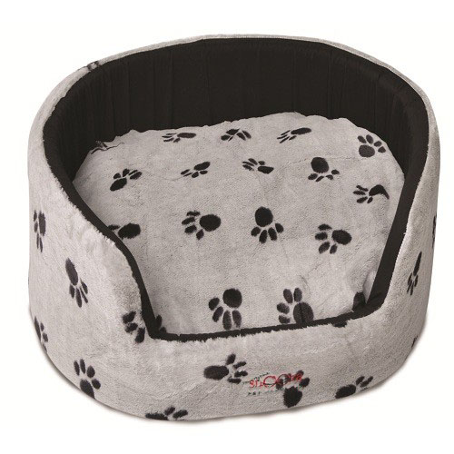 SNOOZA BUDDY BED SILVER AND BLACK PAWS SMALL